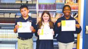 Pictured from left:  Sixth Grader, Clarence D'Antoni; Seventh Grader, Elizabeth Mahler; and Eighth Grader, Tayla Anderson.  These students were chosen by their teachers because they have demonstrated SBM's three expectations of being responsible, respectful, and positive.
